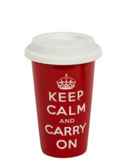 Keep Calm and Carry On travel mug available at Mr Price Home for R49.99