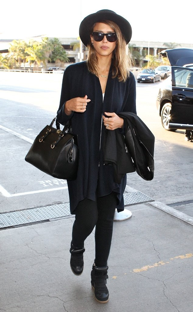 Actress Jessica Alba looking chic in an all black ensemble.